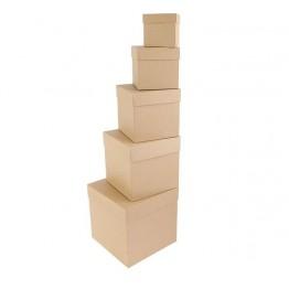 "Набор коробок 5в1 ""Крафт однотонный"", 22.5 х 22.5 х 22.5 - 9.5 х 9.5 х 9.5 см"