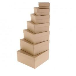 "Набор коробок 7 в 1 ""Крафт однотонный"", 20 х 20 х 10 - 8 х 8 х 4 см."