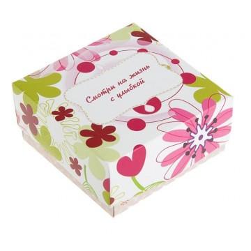 "Коробка подарочная ""Улыбка"", сборная, 9.5 х 9.5 х 4.5 см"