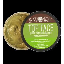 Маска для лица TOP FACE зеленая глина и альгинат, 150 мл., Савонри