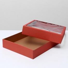 Коробка сборная, крышка-дно с окном, 37 х 32 х 7 см