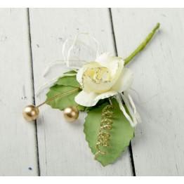 """Декор для творчества """"Белая роза со спиралькой и шариками"""" 10 см"""