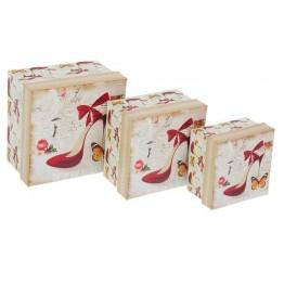 """Набор коробок 3 в 1 """"Туфелька"""", 13.5 х 13.5 х 8 - 9.5 х 9.5 х 6 см"""