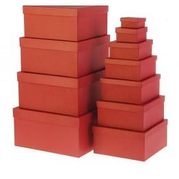 "Набор коробок 11в1 ""Крафт красный"" 25,5 х 25,5 х 13 - 5,5 х 5,5 х 2,5 см."