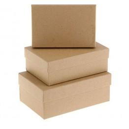 "Набор коробок 3 в 1 ""Крафт однотонный"", 19 х 12 х 7,5 - 15 х 10 х 5 см."