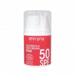 Солнцезащитный крем для лица и тела Календула, SPF50 PINK, 50 мл., levrana